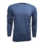 Ultra Soft Suede Semi-Fitted Long-Sleeve Crew // Navy (2XL)