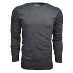Ultra Soft Suede Semi-Fitted Long-Sleeve Crew // Black (XL)
