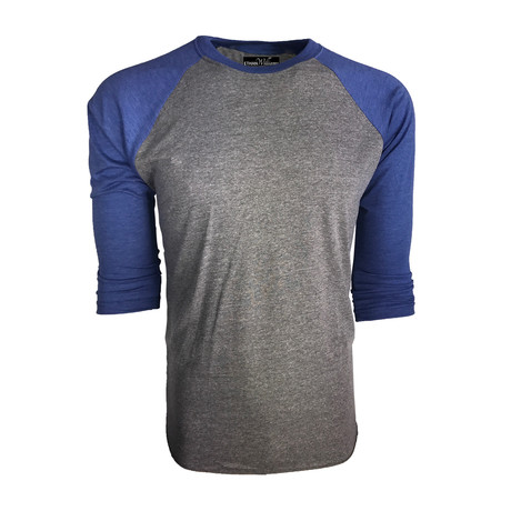 Ultra Soft Tri-Blend 3/4 Sleeve Raglan // Vintage Royal Blue + Heather (S)
