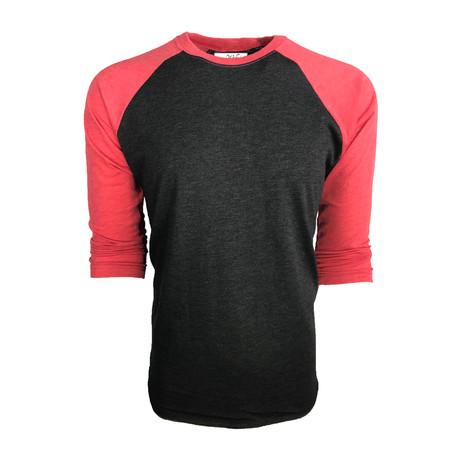 Ultra Soft Tri-Blend 3/4 Sleeve Raglan // Vintage Red + Black (S)