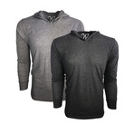 Ultra Soft Lightweight Tri-Blend Long-Sleeve Hoodie // Vintage Black + Vintage Heather // Pack of 2 (L)