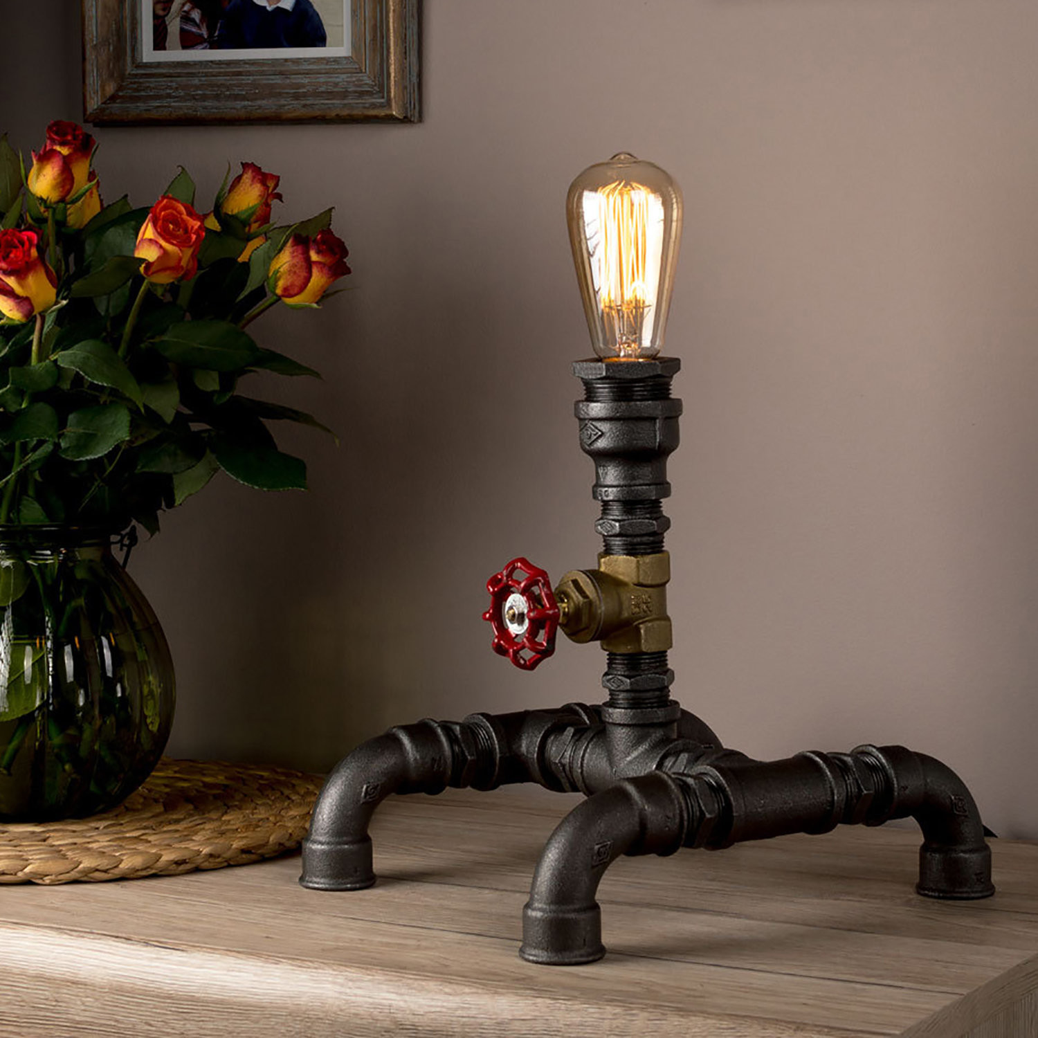 steampunk pipe qunxgs lights table iron id bedside lamps lamp
