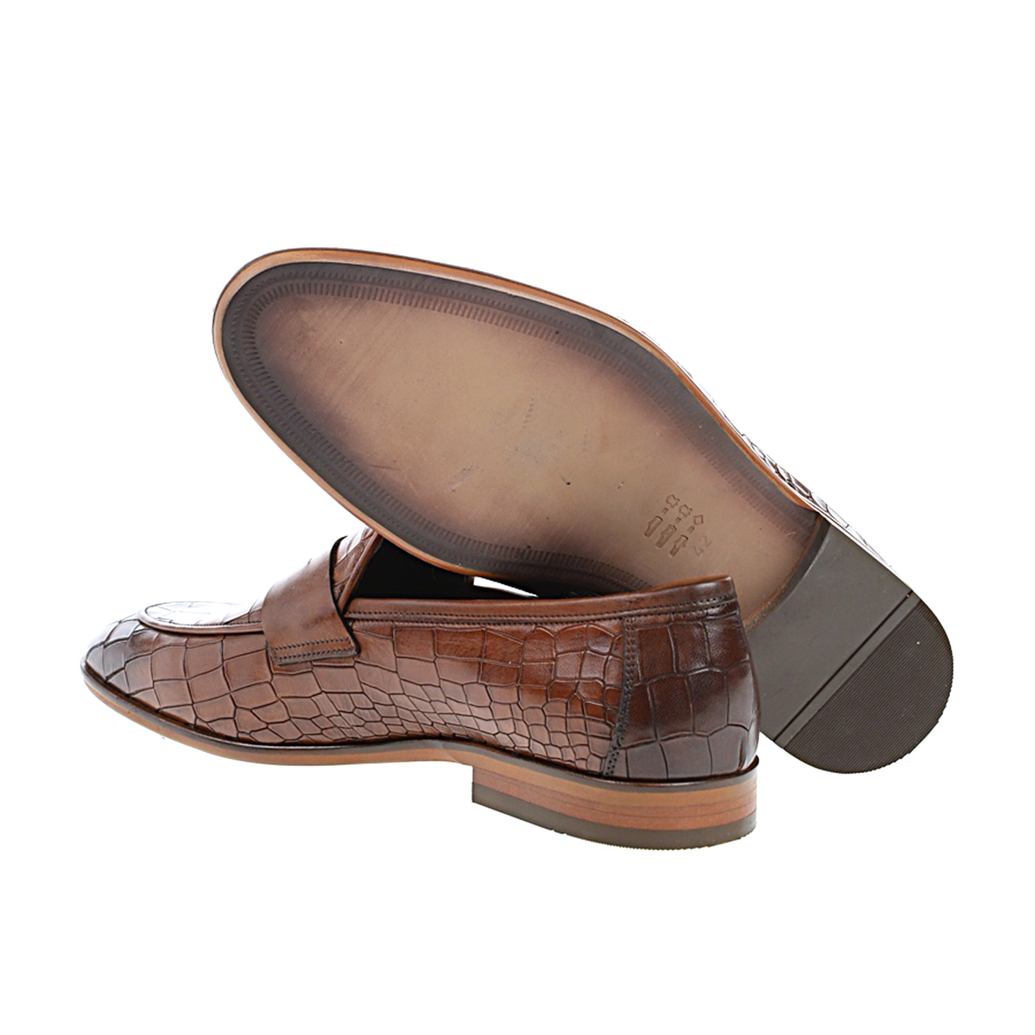 Pointed Crocodile Embossed Penny Loafer // Tobacco (Euro ...