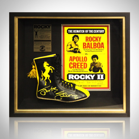 Rocky // Sylvester Stallone Signed Boot Prop // Custom Shadow Box