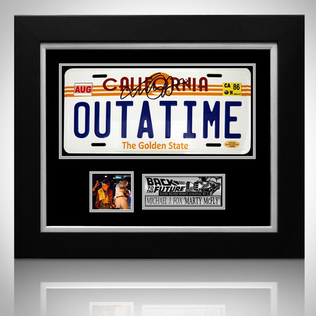 Back To The Future // Michael J Fox Signed Outatime License Plate // Custom Frame