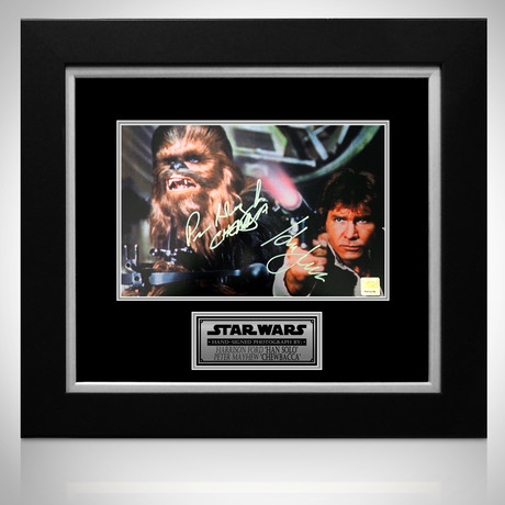 Star Wars Han Solo + Chewbacca // Harrison Ford + Peter Mayhew Signed Photo // Custom Frame