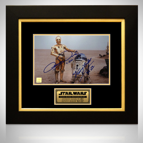 Star Wars R2D2 + C-3PO // Kenny Baker + Anthony Daniels Signed Photo // Custom Frame