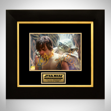 Star Wars Luke Skywalker + Yoda // Mark Hamill + Frank Oz Signed Photo // Custom Frame