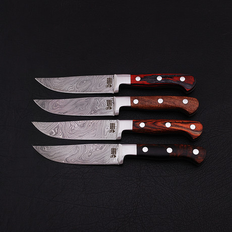 Damascus Steak Knife Set // 4 Piece Set