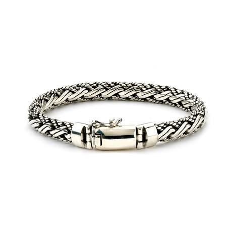 "Sterling Silver Woven Bracelet // Detailed (8.5""L)"