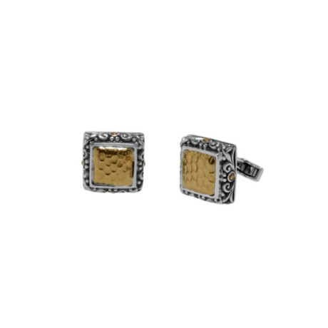 Hammered Gold Square Cuff Links