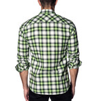Woven Button-Up // White + Lime Check (M)