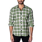 Woven Button-Up // White + Lime Check (S)