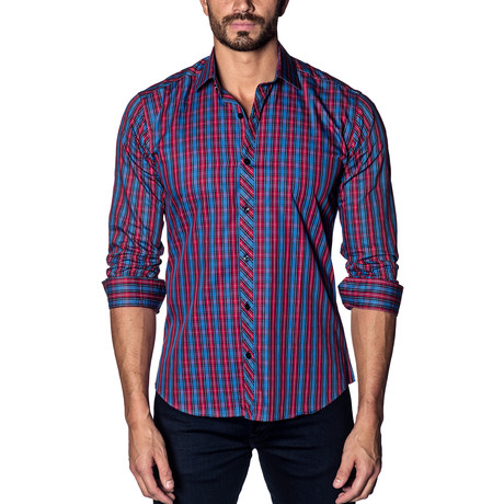 Woven Button-Up // Blue + Red Check (S)