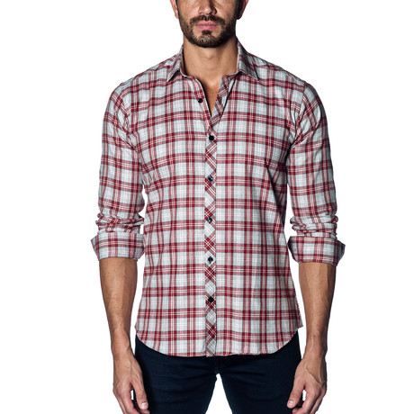 Woven Button-Up // Grey + Red Check (S)