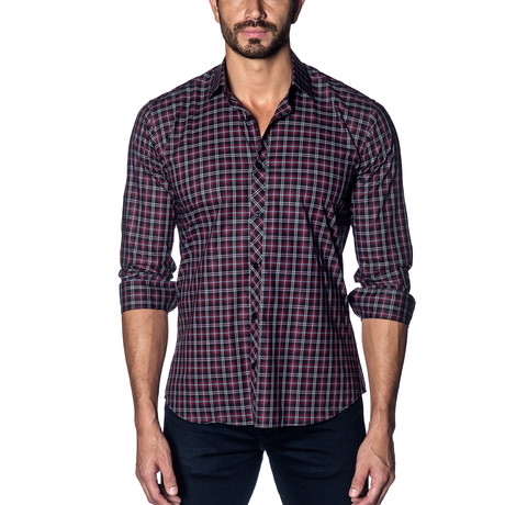 Woven Button-Up // Black + Red Check (S)