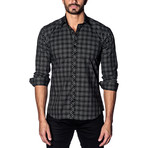 Woven Button-Up // Grey + Black Check (S)
