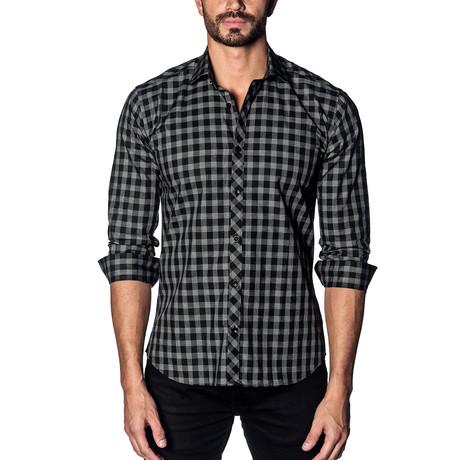 Woven Button-Up // Black + Grey Check (S)