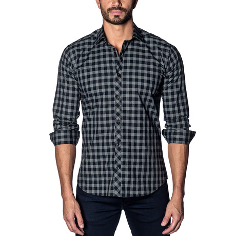 Woven Button-Up // Black + Grey Speck Check (S)