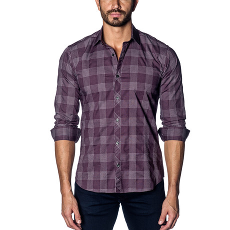 Woven Button-Up // Purple Check (S)