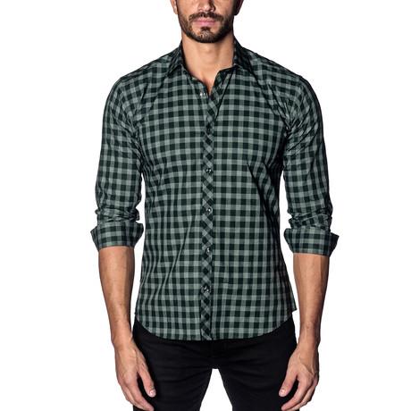Woven Button-Up // Dark Green Check (S)