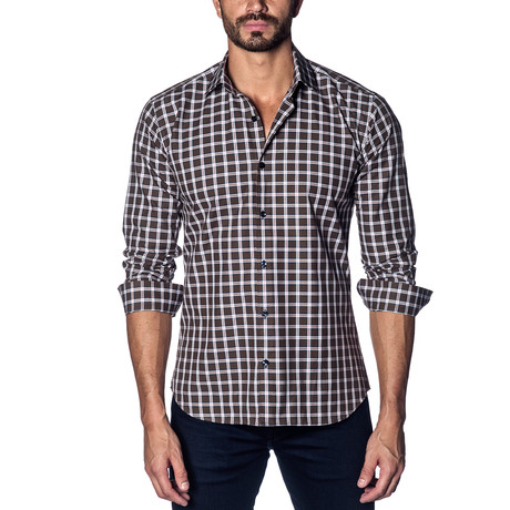 Woven Button-Up // Brown Plaid (S)
