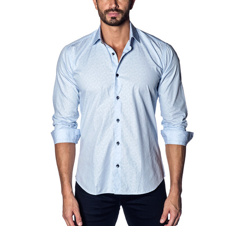Woven Button-Up // Baby Blue Jacquard (S)