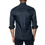 Woven Button-Up // Navy Tonal Stripe (S)