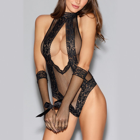 Fishnet + Lace Low-Cut Teddy + Matching Gloves // Black // One Size