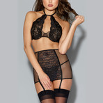 Fishnet + Lace Halter Bra + Garter Skirt Set // Black (L)