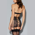Fishnet + Lace Halter Bra + Garter Skirt Set // Black (XL)