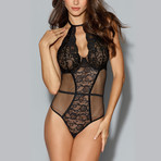 Fishnet + Lace Teddy // Black (XL)