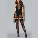 Fishnet Garter Slip + Teddy Bodysuit Lining // Black (XL)