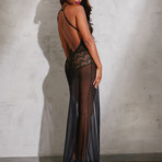 Floor-Length Sheer Gown // Black (XL)