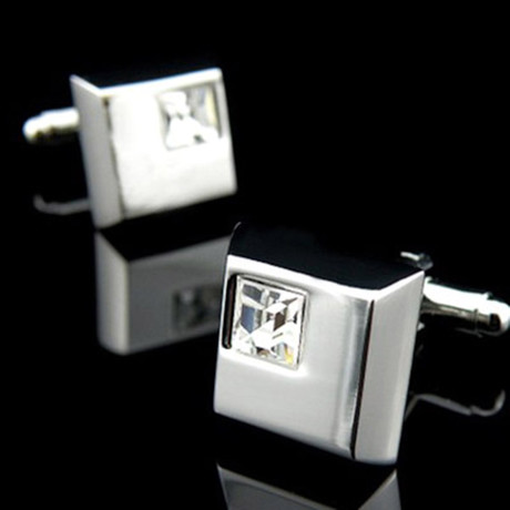 Exclusive Cufflinks + Gift Box // Silver Small White Square