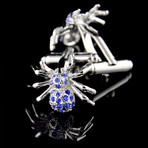 Exclusive Cufflinks + Gift Box // Silver + Blue Spiders
