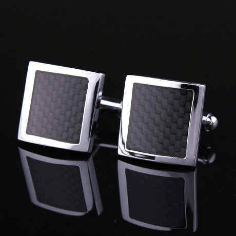 Carbon Fiber Square Cufflinks + Gift Box // Silver + Black