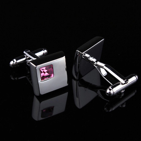 Silver Small Pink Square Cufflinks