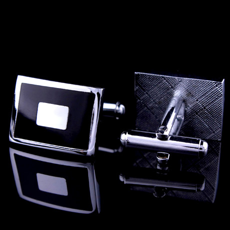 Exclusive Cufflinks + Gift Box // Black + Silver Squares