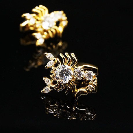 Exclusive Cufflinks + Gift Box // Gold Big Diamond Scorpions