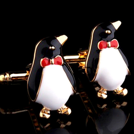 Exclusive Cufflinks + Gift Box // Gold Penguins