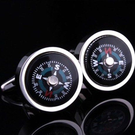 Silver + Black Fully-Functional Compass Cufflinks
