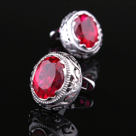 Exclusive Cufflinks + Gift Box // Silver + Big Round Red Stone