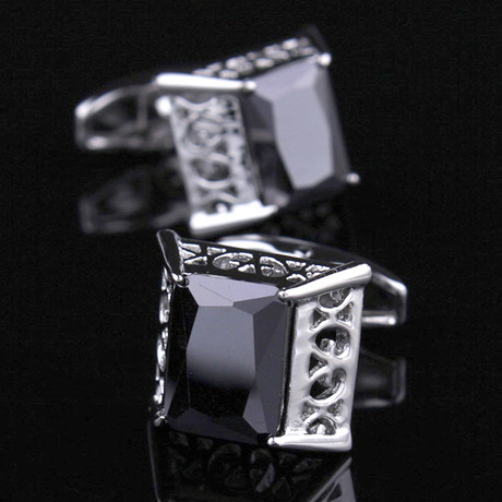 Exclusive Cufflinks + Gift Box // Silver Big Square Black