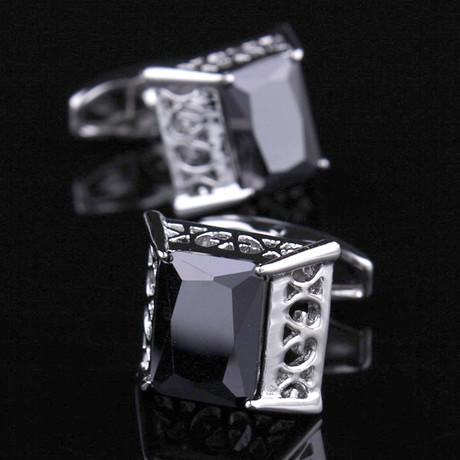 Exclusive Cufflinks + Gift Box // Silver Big Square Black