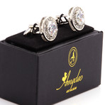 Exclusive Cufflinks + Gift Box // White Round Big Stone