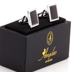 Carbon Fiber Square Cufflinks + Gift Box // Silver + Black
