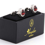 Exclusive Cufflinks + Gift Box // Silver + Big Round Red Stone