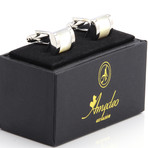 Exclusive Cufflinks + Gift Box // Silver + White Square Pearl