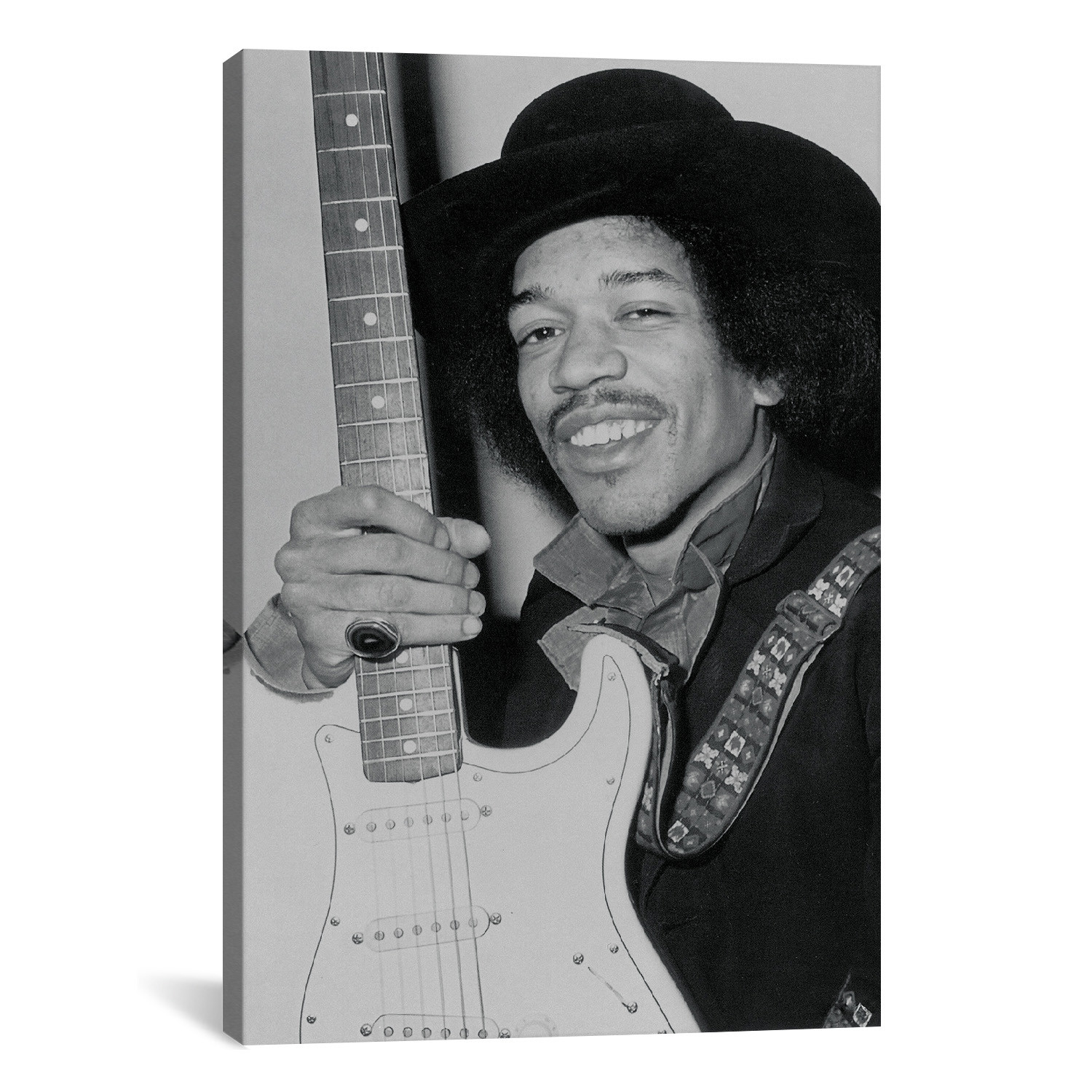 a smiling jimi hendrix holding his guitar 26 w x 18 h x rock film legends touch. Black Bedroom Furniture Sets. Home Design Ideas